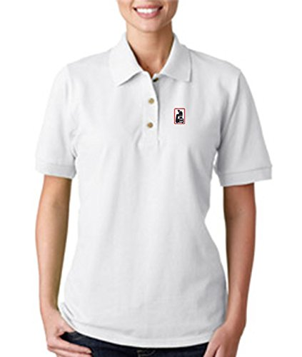Microscope Embroidery Embroidered Lady Woman Polo Shirt White M
