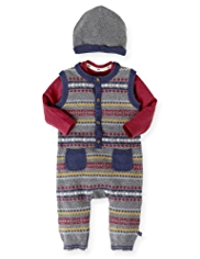 Autograph Pure Cotton Knitted Onesie with Beanie Hat