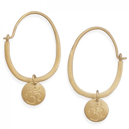 MMA Silver - 14 Karat Gold Plated Hoop with Om Tag Earrings