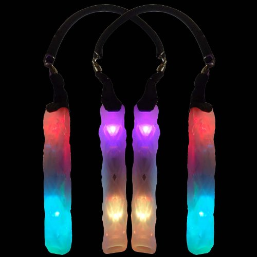 Double Helix Poi W/ Dual Swivel Set - Led Poi For Raves And Concerts - Led Glowstick (Rainbow)