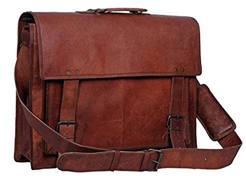 09. Komal's Passion Leather 18 Inch Retro Leather Briefcase Laptop Messenger Bag
