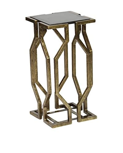 Prima Open Geometric Form Accent Table, Brass