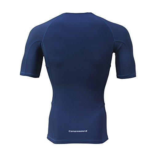 Compression shirt short sleeve top navy m best running t for Best athletic dress shirts