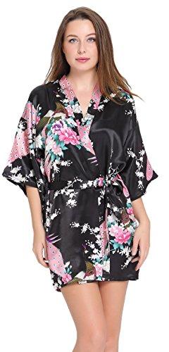 Aibrou Damen Morgenmantel glatte Satin Nachtwäsche Bademantel mit Peacock und Blume Kimono Negligee Seidenrobe Schlafanzug Glanz Look kurz