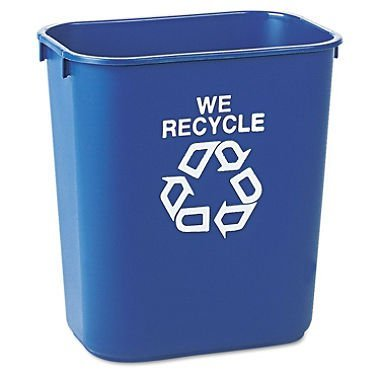 Rubbermaid Commercial 295573BE Blue 13.625-Quart Small Deskside Recycling Container (Blue Recycling Trash Can compare prices)