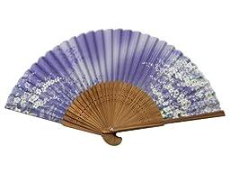 Japanese Design Silk Handheld Folding Fan, Purple w/Fine Flowers and Green Vines HF-229