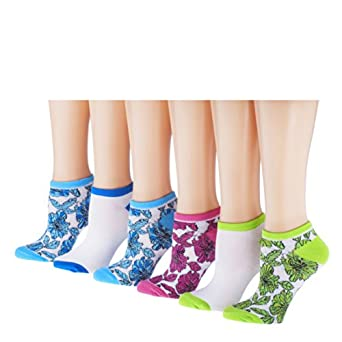 Tipi Toe Women's 6 or 12 Pack Colorful Patterned No Show Socks, SB01