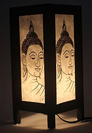 Buddha Face Lamp Vintage Chiang Mai Thai Saa Paper Lantern Table Lamp Small Lamp Shades For