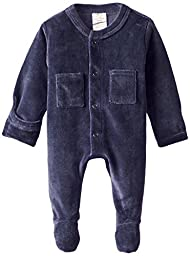 L\'ovedbaby Unisex-Baby Newborn Organic Cotton Velour Footed Overall, Navy, New Born