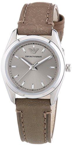Emporio Armani  0 - Reloj de cuarzo para mujer, con correa de cuero, color marrón