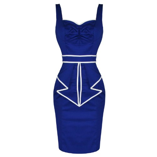 Ladies Womens New Blue Sailor Fitted Party Pencil Wiggle Party Cocktail Dress