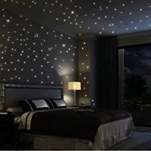 Fuloon Huge Set of 798/285 Glows The moon Beautiful Faery in the Dark Stars and Stick Wall Decals