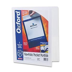 Oxford ViewFolio Twin Pocket Folder, Letter Size, White, Qty of 1 ,( 5744)