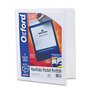 Oxford ViewFolio Twin Pocket Folder, Letter Size, White, 25 Folders, 57444