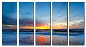 Canvas Prints - Framed and Ready to Hang - 100% Quality Cotton Canvas - Modern Home and Office Interior Decor - Seascape Canvas Designs - 5 Panel Print - Seascape Beach Print on Canvas - Wall Art - 30 Day Money Back Guarantee - Great Product Reviews From Amazon's Top 100 Reviewers