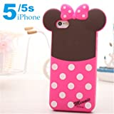 Lovestal New Hotsale Disney Figure Series Minnie Mouse Mickey Mouse Donald Duck Winnie Pooh Fashionable Designed Soft Silicone Case For The iphone 5/5S (Minnie) + 1psc Lovestal Wristband