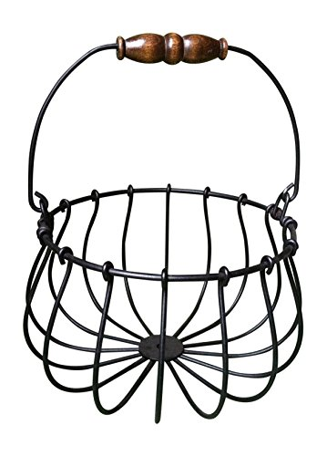 Wire Egg Basket, Black Wrought Iron, Wood Handle, Holds 12-20 Eggs, Made in USA (Decorative Chicken Eggs compare prices)