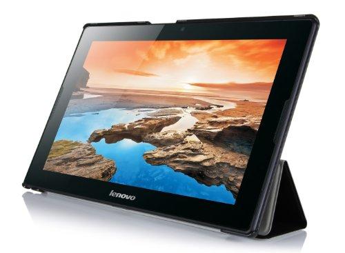 Lenovo A10-70 hülle Schutzhülle, IVSO hochwertiges PU Leder Etui - mit Standfunktion und automatischem Schlaf Funktion, super 360° Anti-Wrestling, ist für Lenovo A10-70 25,7 cm (10,1 Zoll HD IPS) Tablet perfekt geeignet., Smart Cover-Schwarz