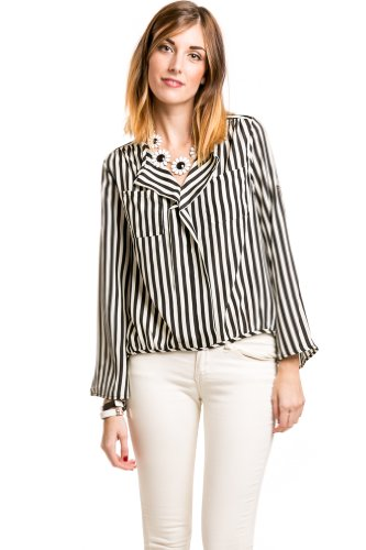 Loose Striped Blouse in Black and White