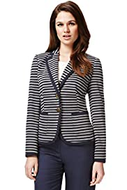 Autograph Notch Lapel Striped Tipped Blazer