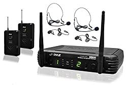 PylePro PDWM3400 Premier Series UHF Microphone System with 2 Body-Pack Transmitters, 2 Headsets and 2 Lavalier Mics