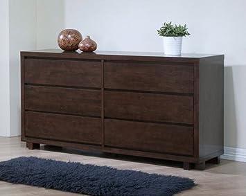 Harvey Wenge 6-drawer Traditional Wood Bedroom Dresser Elegant Style Modern Chest