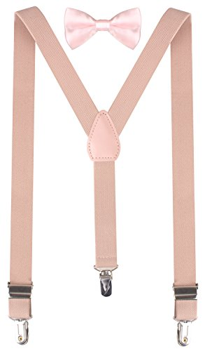 BODY STRENTH Boys Pink Bow Tie Toddler Bow Tie Suspenders for Kids 22 Inches (7 months - 3years) Nude Pink