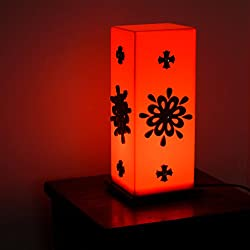 eCraftIndia Floral Wooden Block Acrylic Orange Table Lamp