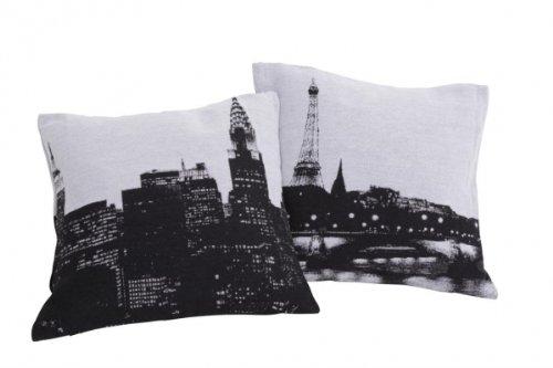 Kissenhülle CITY New York / Paris Farbe Paris schwarz - 40x40cm