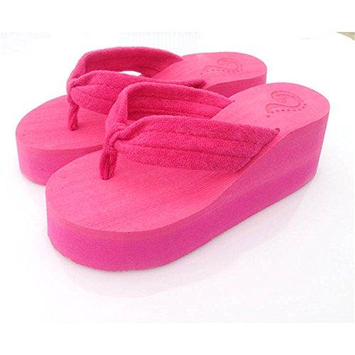 Fashion Women'S Thong Flip Flop High Platform Sandals Shoes Slipper Hot Pink Us Size 7.5 front-1058611