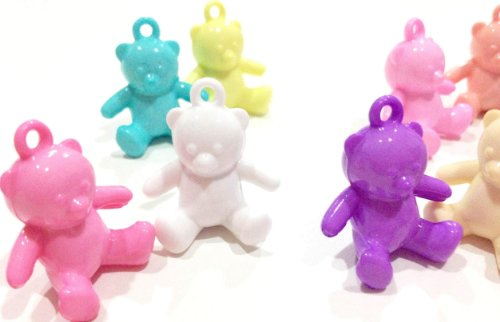 Pack of 10 Pastel Cute Sitting Bear Loom Charms for Rainbow Color Rubber Band Loom Bracelets
