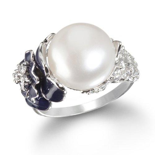 Fabulous Pearl and Dark Purple Rose Enamel Ring