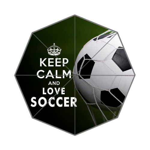 Keep Calm And Love Soccer Custom Foldable Rain Umbrella front-1055056
