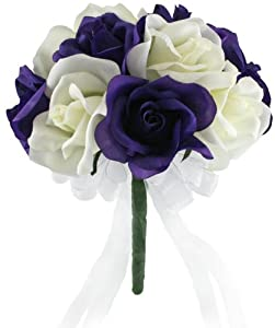 Purple and Ivory Silk Rose Toss Bouquet - Lesbian Toss Bouquet