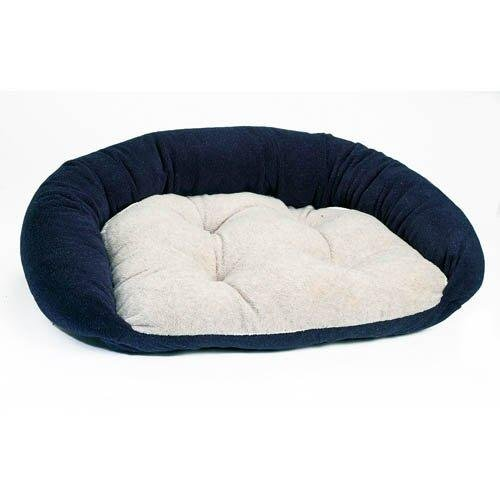 Bowser's Reversible Lounger Dog Bed in Navy (Navy/Oatmeal,