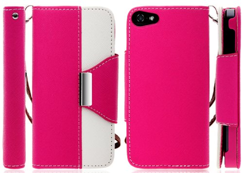 Mylife (Tm) Rose Pink And White Stylish Design - Textured Koskin Faux Leather (Card And Id Holder + Magnetic Detachable Closing) Slim Wallet For Iphone 5/5S (5G) 5Th Generation Smartphone By Apple (External Rugged Synthetic Leather With Magnetic Clip + In