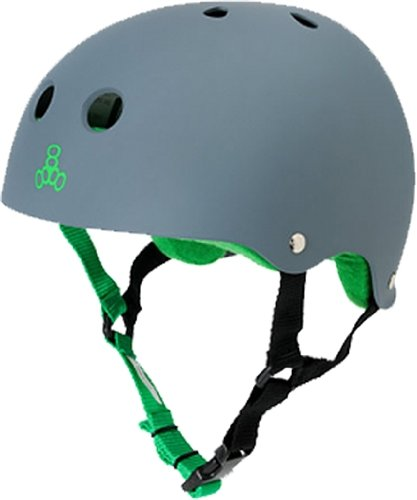 Triple Eight Brainsaver Rubber Helmet Sweatsaver Carbon/Green [Large]