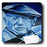 3dRose LLC 8 x 8 x 0.25 Inches Mouse Pad, Blue Picasso Artist, Blue, Cubism, Man, Pablo Picasso, Picasso, Signature (mp_46744_1)