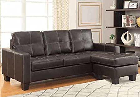Acosta Leather Upholstered Sectional with Chaise