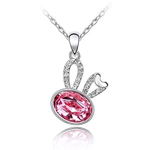 Contessa Bella Fancy Genuine 18k White Gold Plated Pink and Clear Swarovski Austrian Crystal Elements Beautiful Bunny Rabbit Women Charm Pendant Necklace Elegant Silver Color Crystal Animal Fashion Jewelry