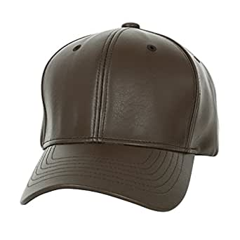 ililily High Quality Faux Leather Simple Baseball Cap with Adjustable Strap