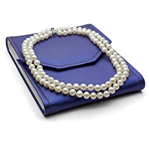 Sterling Silver 2 Rows 8-9mm White Freshwater Cultured High Luster Pearl Necklace, 17