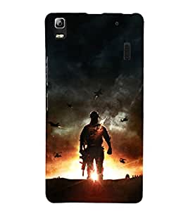 printtech Game Battle Soldier Back Case Cover for Lenovo A7000