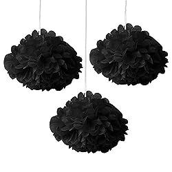 Decorative Fluffs Small Black (set of 3)