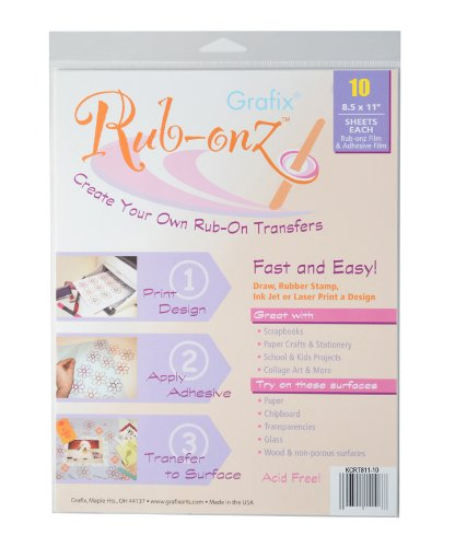 Grafix Clear Rub-onz 8-1/2-Inch by 11-Inch Inkjet-laser Film, 10-Pack