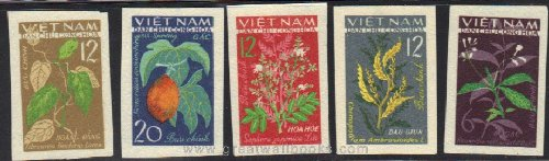 Vietnam Stamps - 1963, Sc 280-4, VN Code # 137, Traditional medicinal plants, Imperf, MNH, F-VF (Free Shipping by Great Wall Bookstore)