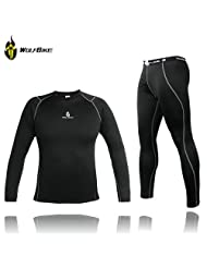 WOLFBIKE Men Thermal Fleece Base Layer Compression Clothing Under Wear Cycling Bike Long Sleeve Jersey Pant Winter...