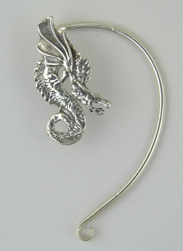 A Special Dragon Ear Wrap in Sterling Silver. Why Be Ordinary? This Fits the Left Ear Best.