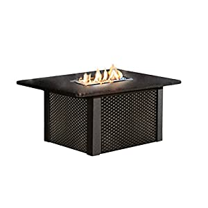 Outdoor Greatroom Grandstone Gas Fire Pit Coffee Table With Black Wicker Base