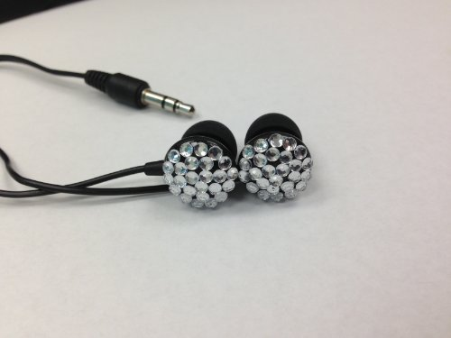 Traxx In-Ear Crystal Diamond Jewelry Headphones - High Sound Quality - Black